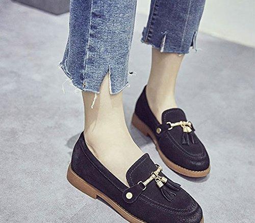 WTUS Femme Mocassins Femmes En Cuir Casuel Confort Chaussures Plates Loafers Chaussures de Conduite noir1