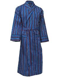 Lloyd Attree & Smith - robe de chambre légère 100% coton - rayé bleu marine / rouge / or - homme