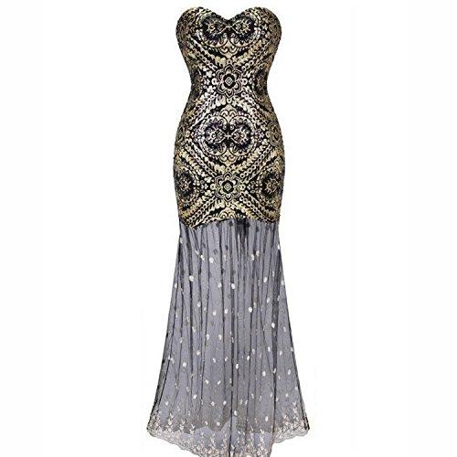 Kleid Kostüme Tube (Babeyond Tube Kleider für Frauen Tube Kleid Bodycon Brautjungfer Kleid Flapper Kleid Lang (Etikette XL/ UK18/)