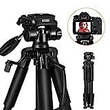 ESDDI Treppiede Treppiedi Fotocamera 140cm/55 inches Cavalletto Leggero Portatile con 360° Panoramica con manico, 1/4' Piastra Sgancio Rapido per DSLR Canon Nikon Sony Camera