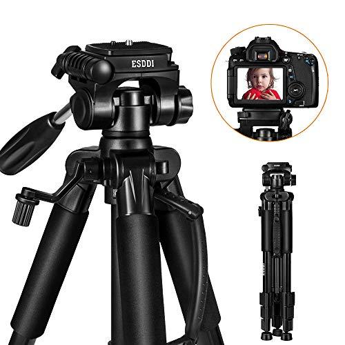 ESDDI Kamera Stativ 140cm/55inches Aluminiumlegierung Leichtes Stativ mit 3 Wege Schwenkkopf Handy-Adapter für DSLR Canon Nikon Sony Samsung Olympus Panasonic und Pentax