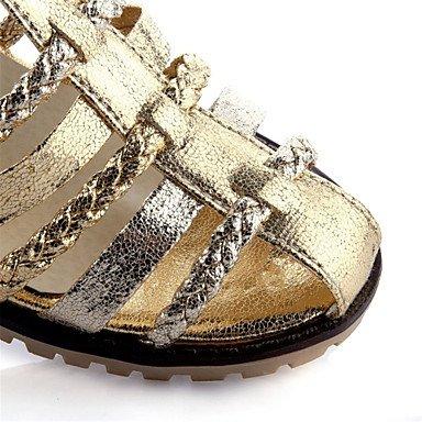 LvYuan Sandalen-Kleid Lässig-Lackleder maßgeschneiderte Werkstoffe-Blockabsatz-Komfort Neuheit D'Orsay und Zweiteiler-Weiß Silber Gold Silver W7ANG
