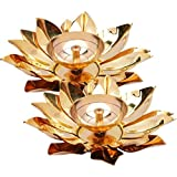 Decorate India Pure Brass And Copper Table Akhand Diya 6 Inch Diameter Brass, Copper Table Diya Set (Height: 2 Inch)