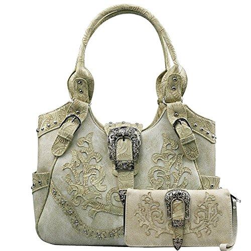 La Dearchuu Westlicher Stil Schultertaschen Gürtelschnalle Henkeltaschen für Damen und Clutch Handschlaufe Handtasche Geldbörse