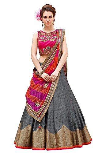 Sky Global Women's Embroidered Banglori Silk Lehenga Choli (Sky_270)