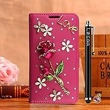 "Locaa(TM) For Alcatel OneTouch Idol 3 5.5"" Idol3 Rosa 3D Bling Case Funda 3 IN 1 Accesorios Protector Phone Cover Cas Shell Caso Alta Calidad Piel Cuero Para Bumper [Rosa 1] Rosa - Rosa Rose"