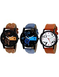 Matrix Multicolor Dial & Multicolor Leather Strap Analog Watches for Men/Boys - Combo (Pack of 3) - (TRP-13)