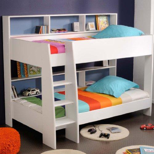 prisot 90×200 Kinder Etagenbett Doppelstockbett Weiß Rückwand Blau und Pink Drehbar