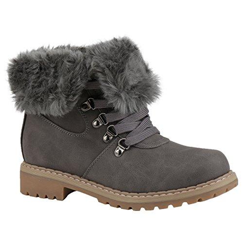 Stiefelparadies Damen Stiefeletten Warm Gefütterte Worker Boots Outdoor  Schuhe Flandell Grau Camiri ed302fcac1