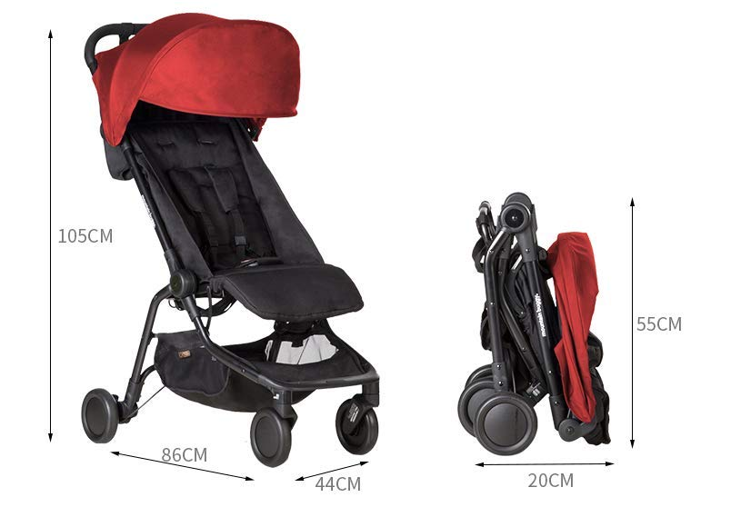 """Mountain Buggy Nano V2-5, Ruby Red Mountain Buggy Infant car seat ready, no need to purchase additional adapters and now has a soft shell cocoon carrycot available (sold separately) for new-borns New, narrower compact size at just 12"""" x 22"""" x 20"""" (folded) with 44 lb. weight capacity and suitable for children up to 4 years Easy two-step, compact fold 6"""
