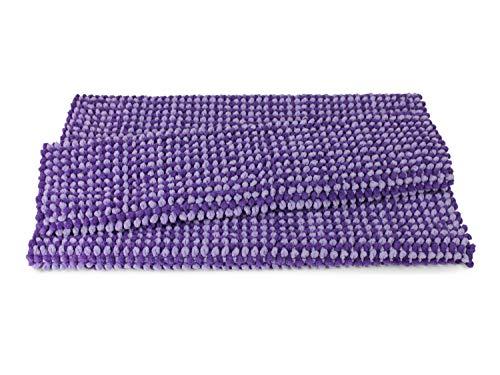 Dyckhoff Badteppich Drops - Ihr Teppich auch für Schlafzimmer und Wohnzimmer 7.14, Badteppich (70 x 120 cm), Flieder/lila