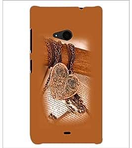 PrintDhaba Heart Pendant D-1209 Back Case Cover for MICROSOFT LUMIA 535 (Multi-Coloured)