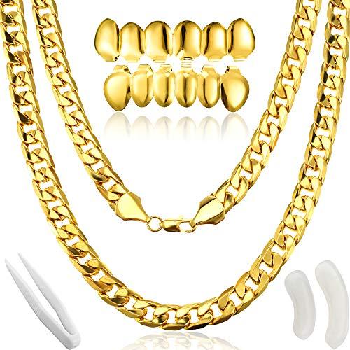 Gejoy Hip Hop Rapper Kostüm, Faux Gold Kette Halskette Klumpig Halskette mit Vergoldeten Gold für Mund Top Unterseite Hip Hop Zähne , 80/ 90s Punk/ Hip Hop/ Rapper Kostüm