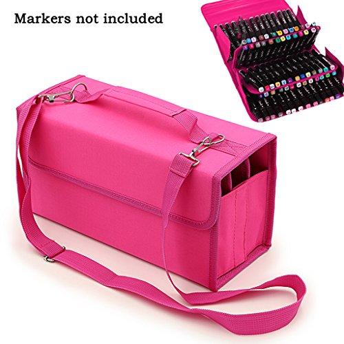 hipiwe-72-slot-marker-wallet-case-with-carry-handle-rose-red