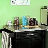 SoBuy® Luxus-Küchenwagen mit Edelstahltop, Küchenschrank, Kücheninsel,Schwarz, B66xT46XH92cm FKW13-SCH - 9
