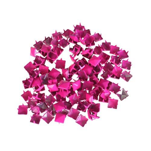 100pcs Borchie A Piramide Ha Visto Picchi Punk Per Diy Leathercraft Mestiere - Rosa Caldo