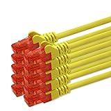 0,25m - gelb - 10 Stück CAT 6 Netzwerkkabel Patchkabel 1000 Mbit RJ45 Stecker kompatibel zu CAT5e CAT5 CAT6 CAT7 Dsl Internet Router