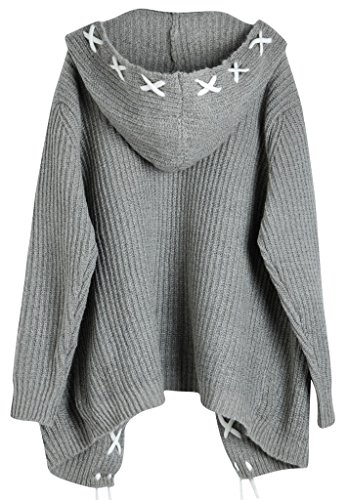 Vogueearth Fashion Femme's Ladies Longue Manche Hooded Knit Sweater Chandail Tricots Open Cardigan Manteau Blousons Coat Veste Gris