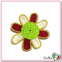 Flor burdeos, verde y beige para aplicaciones, broche o imán de ganchillo - Tamaño