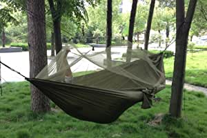 Enjoydeal Portable High Strength Parachute Fabric Hammock Hanging Bed With Mosquito Net For Outdoor Camping Travel (Army Green)