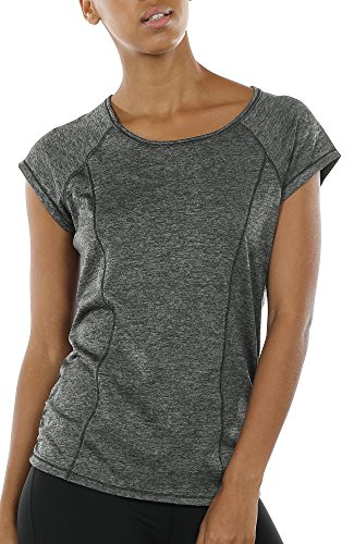 icyzone Damen Fitness Training T-Shirt Kurzarm Sportshirt Laufshirt Rückenfrei Gym Yoga Oberteile (M, Charcoal)