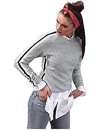 TOOGOO(R) Women Spring Autumn Ribbon Side T shirt Gray Basic T Shirt Fashion Womens Long Sleeve Crewneck Casual Top Tee Shirt(Grey, M/US~6/UK~10)