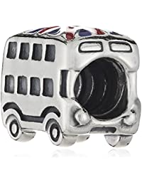 Pandora Damen-Charm 925 Sterling Silber Union Jack Bus Emaille rot 791049ER