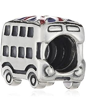 Pandora Damen-Charm 925 Sterling Silber Union Jack Bus Emaille rot 791049ER