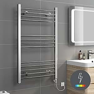 iBathUK | 1000 x 500 Thermostatic Electric Heated Towel Rail Bathroom Radiator