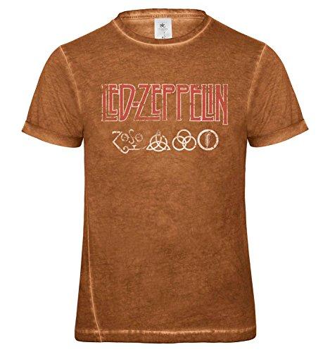 LaMAGLIERIA Herren T-Shirt Vintage Look LED Zeppelin Icarus Logo Cod. Grpr0092 - Männer Vintage DNM Plug-in T-Shirt mit Rock Vorderdruck, X-Large, Rusty Clash