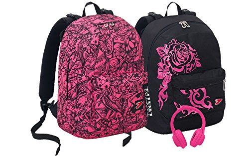 Seven s.p.a. zaino seven the double - digital - rosa nero - cuffie stereo wireless con microfono incluse! 2 zaini in 1 reversibile