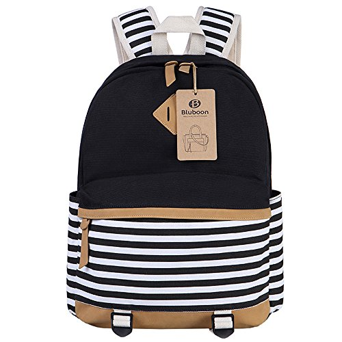 Girls Backpack for School Bags Canvas Classic Rucksack Casual Daypack for Teens (Black)
