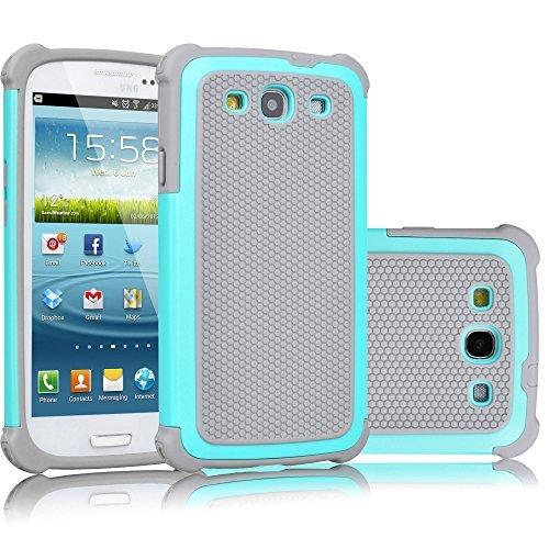 Galaxy S3Fall, tekcoo (TM) [tmajor Serie] [türkis/grau], Hybrid Gummi Kunststoff Impact Defender Rugged Slim Hard Case Cover Shell für Samsung Galaxy S3S III i9300GS3alle Netzbetreiber