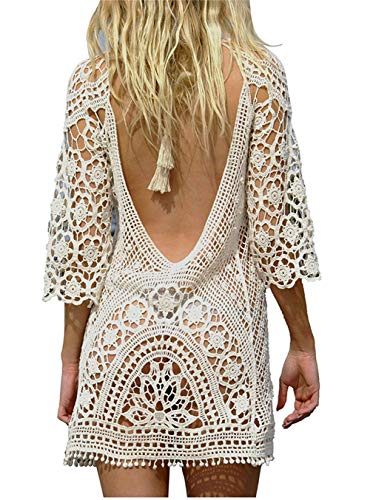Kfnire Traje de baño de Las Mujeres Bikini Traje de baño Vestido de Playa Crochet (D- Blanco)