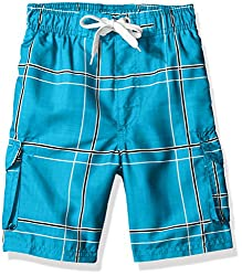 Kanu Surf Little Boys Toddler Flex Plaid Swim Trunk, Aqua, 3T
