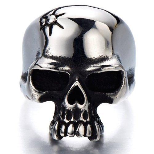 H+C Estilo Gótico- Anillo de Hombre- Cráneo- Calavera- Acero Inoxidable- Biker- Oxidado Negro(13)