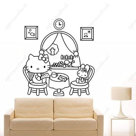 Custom PopDecals Kitty-s family-Belle Arbre Stickers muraux pour chambre d'enfant Peint style Princess Boys Sticker Autocollant mural de décoration pour chambre d'enfants