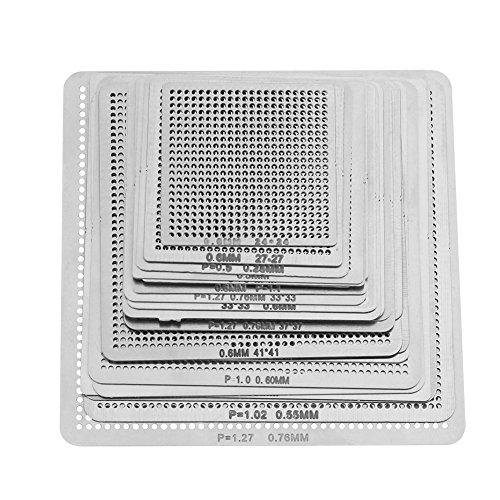 Kit de 27pcs Pochoirs Stencils BGA Universels Assortiment Chauffage Direct pour Reballing Soudure BGA
