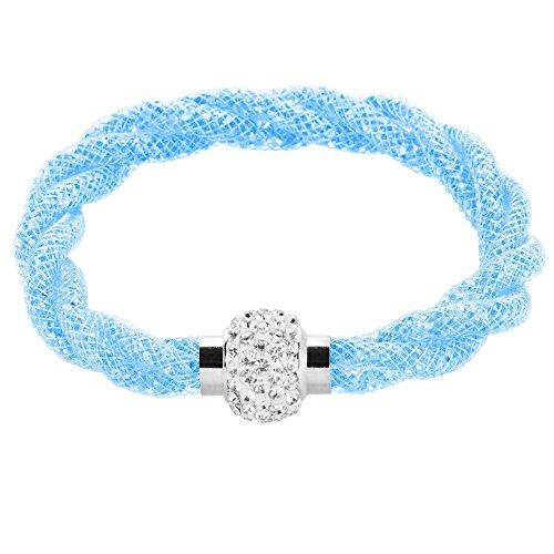 Mianova Damen Stardust Schlauch Armband Armreif Netzschlauch Nylon mit Strass Steinen Kristallen Shamballa Kugel Silber Hellblau