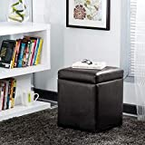 Home Centre Andaman Faux Leather Ottoman Small - Rich Brown