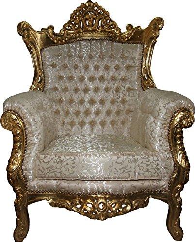 Casa-Padrino Sillón Barroco 'Al Capone' Mod3 Crema/Muebles de Oro - Estilo Antiguo - Edición...