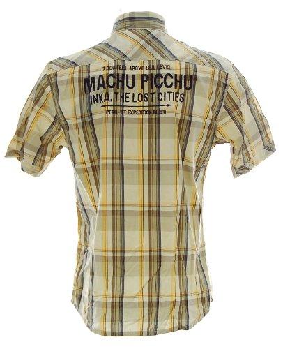 Kitaro Herren Kurzarm Shirt Hemd Freizeithemd Karo Machu Picchu Inka the lost Cities Beige