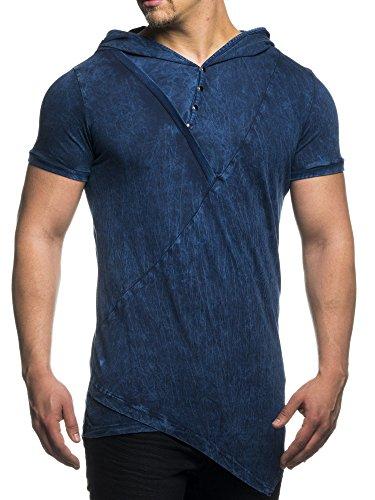 Tazzio T-Shirt Herren Batik Style Hooded Asymmetrisches Kapuzen Shirt TZ-15135 Navyblau