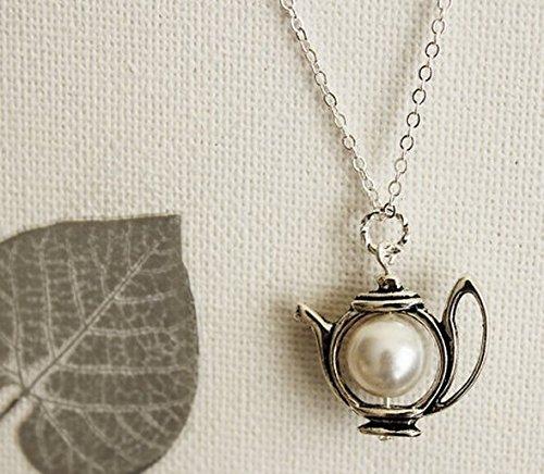 Halskette Teekanne Teekanne in Antik-Silber mit Swarovski-Perle. Pastell. Geschenk für Sie