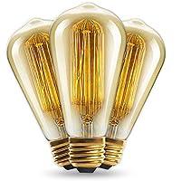 Vintage bombilla 40W–Filamento de Jaula de ardilla (anticuada Edison) E27Screw Int® Pack de 3