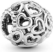 PANDORA Women's Sterling Silver Openwork Heart Charm - 79