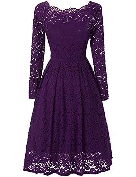 Adodress Damen Vintage Off Schulter Cocktailkleid Retro Spitzen Schwingen Pinup Rockabilly Kleid