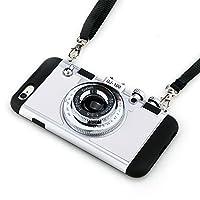 iPhone 5/5S caso, Guojia 3d Cool diseño de cámara PC + silicona Carcasa Cover con Correa Larga cuerda para niñas y niños (dureza moderada), blanco
