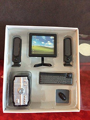 Puppenhaus Möbel- Black Desktop Computer Set, 6 Teile
