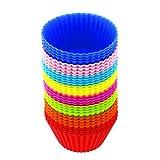 Silicone stampi per cupcake confezione riutilizzabile e antiaderente cupcake Holders set regalo (8 colori-32 pezzi)